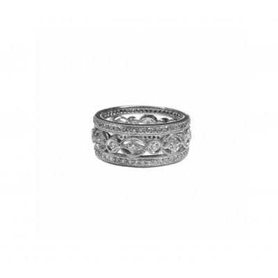 Antique Style Wide Wedding Band